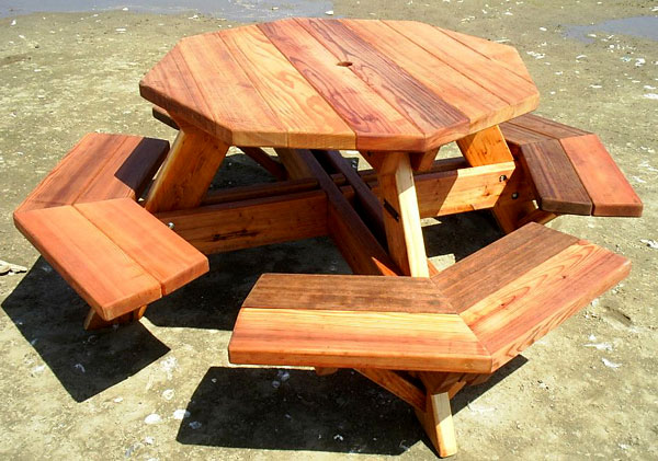 Forever Four Foot Octagonal Picnic Table With Attached Benches